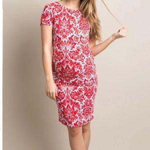 PinkBlush Red Aqua Fitted Damask Maternity Dress